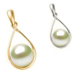 Pendentif en Or 18k avec perle blanche Akoya qualité AAA