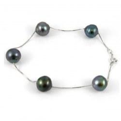 Bracelet 5 perles baroques de Tahiti 8-9 mm sur chaine corde Or gris 14 carats