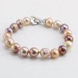 Bracelet de Perles Ripple/Kasumi d'eau douce 10-12 mm multicolores 18 cm