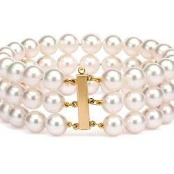 Bracelet 3 rangs 18cm 2 barrettes en or 14k, perles d'eau douce Blanches 6 à 7 mm