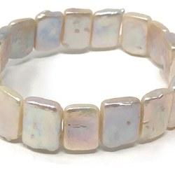 Bracelet elastique de perles rectangulaires plates d'eau douce 11x16 mm blanches