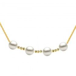 Collier 4 perles de culture d'Akoya 8,5-9 mm AAA avec 9 billes de 4 mm en Or 18k