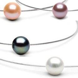 Pendentif Perle d'eau douce AAA sur câble en argent 42 cm Ø 1,5 mm