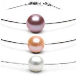Pendentif Perle d'eau douce DOUCEHADAMA sur câble 42 cm, Ø 1 mm, en argent