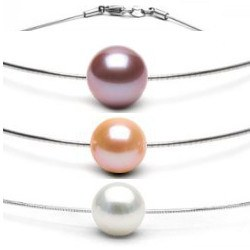Pendentif Perle d'eau douce DOUCEHADAMA sur câble 40 cm, Ø 1,2 mm, en argent