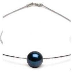 Pendentif Perle d'Akoya Noire AAA sur câble 42 cm, Ø 1 mm, en argent
