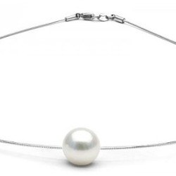 Pendentif Perle d'Akoya Blanche sur câble 42 cm, Ø 1 mm, en argent