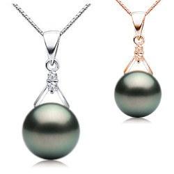 Pendentif Or 18k et diamants avec perle de Tahiti