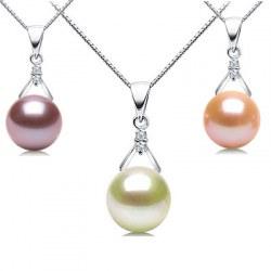Pendentif or 18k et diamants avec perle d'Eau Douce DOUCEHADAMA
