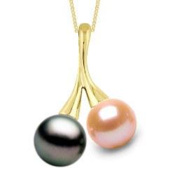 Pendentif or 18k et deux perle Tahiti 9-10 mm AAA et DOUCEHADAMA pêche 9-10 mm