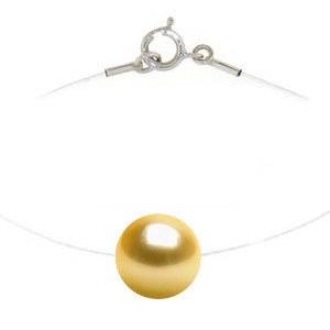 Perle dorée des Philippines sur lien nylon invisible 42 cm fermoir Argent 925