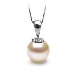 Pendentif Classique en Argent 925 avec perle de culture d'Akoya blanche à partir de 8-8,5 mm AAA