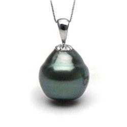 Pendentif en Argent 925 et Perle Baroque de Tahiti cerclée 10-11 mm