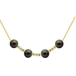 Collier 4 perles de culture de Tahiti 9-10 mm AAA avec 9 billes de 4 mm en Or 18k