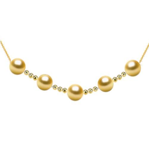 Collier 5 perles dorées des Philippines 9-10 mm AAA avec 12 billes de 4 mm en Or 18k