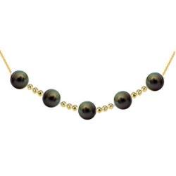 Collier 5 perles de culture de Tahiti 9-10 mm AAA avec 12 billes de 4 mm en Or 18k
