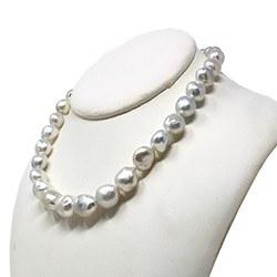 Collier 43/44 cm de perles baroques d'Australie Argentées, 9 à 13 mm