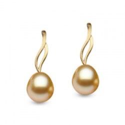 Boucles d'oreilles Or 14k perles des Phiippines Gouttes Dorées AAA