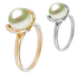 Bague Or 18k et perle d'Akoya blanche 9-9,5 mm