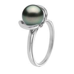 Bague Or 18k perle de culture noire de Tahiti qualité AAA
