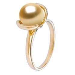 Bague en Or 18k avec perle dorée des Philippines qualité AAA