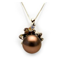 Pendentif Or Jaune 18k Diamant Perle de Tahiti Chocolat 11-12 mm AAA