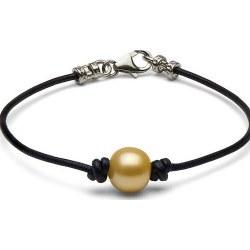 Bracelet en cuir avec perle dorée des Philippines entre 2 noeuds et fermoir en Argent