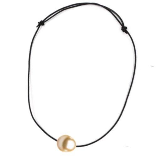 Lien de cuir noeuds coulissants traversant Perle Philippine Goutte Dorée AAA