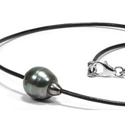 Collier/Bracelet Cuir & perle baroque de Tahiti 10-11 mm