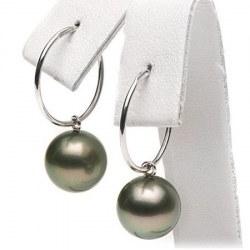 Boucles d'Oreilles Créoles Argent 925 Perles de Tahiti