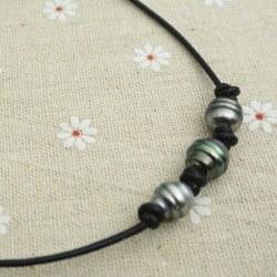 Collier de cuir et 3(+1) perles de Tahiti Baroques 10-11 mm
