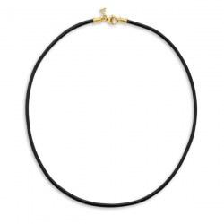 Cordon de cuir ciré noir pour pendentif, 42 cm, fermoir Or 18k