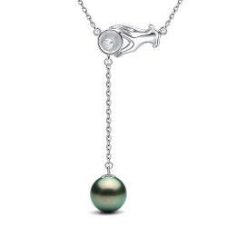 Collier 40 cm Pendentif Argent zirconium et perle de culture de Tahiti