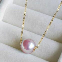 Perle d'eau douce 10.2 mm avec cercles en Or jaune 18k chaine de 45 cm