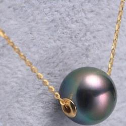 Perle de Tahiti avec cercles en Or 18k sur chaine de 40-45 cm