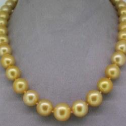 Collier de perles dorées Philippines bien dorées de 10-11 mm AA/AA+ Or Jaune 14k