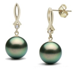 Boucles d'Oreilles en Or 18k, Diamants et Perles Noires de Tahiti 9-10 mm AAA