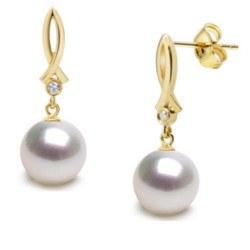 Boucles d'Oreilles en Or 18k diamants et perles d'Australie blanches argentées 9-10 mm AAA