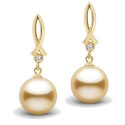 Boucles d'Oreilles en Or 18k diamants et perles dorées des Philippines 9-10 mm AAA
