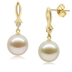 Boucles d'oreilles Or 18k et diamants avec Perle d'Eau Douce 9-10 mm AAA
