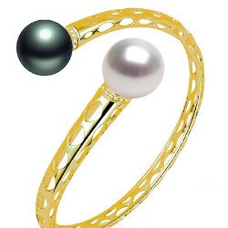 Bracelet en Or 9k perle noire Tahiti et perle d'Australie blanche