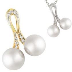 Pendentif Or 14k et diamants avec deux perles Akoya blanches 9-9,5 mm