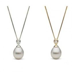 Pendentif Or 18k et Diamant Perle d'Australie Blanche Goutte 10-11 mm AA+