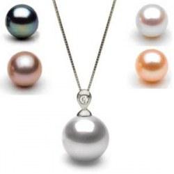Pendentif Eclat Argent 925 et Diamant, Perle d'eau douce AAA