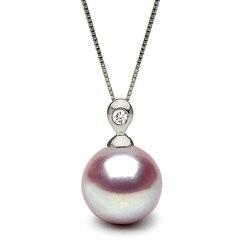 Pendentif Eclat Argent 925 et Diamant, Perle d'eau douce Lavande DOUCEHADAMA