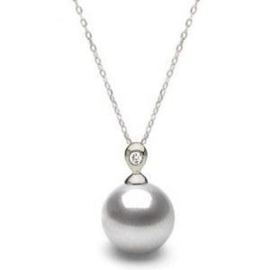 Pendentif Chaine 40 cm forçat Argent et Diamant Perle d'eau douce 7-8 mm blanche AAA