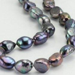 Collier 45 cm de perles d'eau douce Noires Baroques de 10 à 11 mm