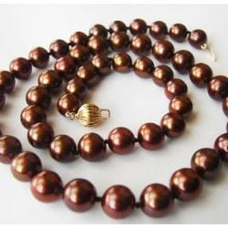 Collier 43/44 cm de perles de culture d'Eau Douce Chocolat AA+