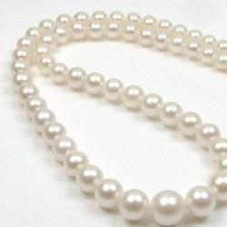 Collier 45 cm de perles de culture d'Eau Douce en chute de 4 à 9 mm Blanches AA+/AAA
