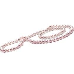 Long Collier de 66 cm en perles d'eau Douce Lavandes de 7 à 8 mm